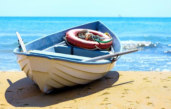 Картинка песок, море, пляж, берег, лодка, beach, sea, sand, fishing boat