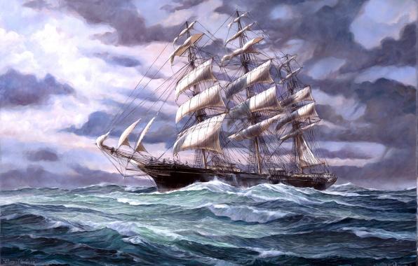 Картинка Море, Рисунок, Волны, Корабль, Парусник, Картина, Паруса, Вид сбоку