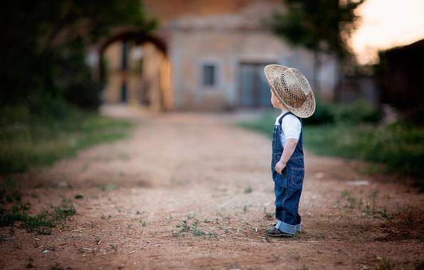 Картинка пейзаж, фон, джинсы, шляпа, мальчик, ковбой, боке