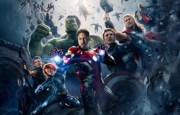 Картинка Scarlett Johansson, Heroes, Hulk, Iron Man, The, Captain America, Thor, Black Widow, Robert Downey Jr., …