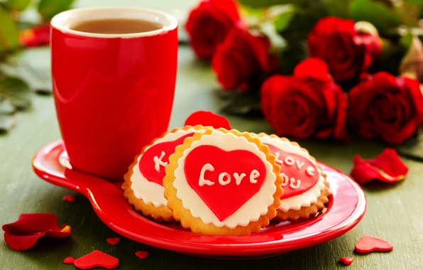 Картинка любовь, цветы, праздник, чай, сердце, розы, букет, печенье, чашка, love, heart, flowers, cup, holiday, bouquet, …