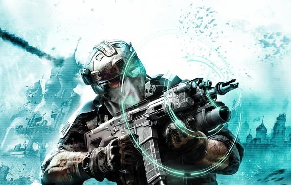 Картинка взрыв, оружие, очки, солдат, автомат, перчатки, камуфляж, прицел, голограмма, отряд призрак, Ghost Recon: Future Soldier, …