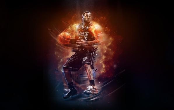 Картинка Огонь, Баскетбол, Miami, NBA, LeBron James, Basketball, Heat, Игрок