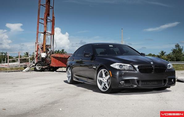 Картинка BMW, black, 5 series, f10, vossen