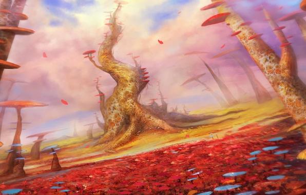 Картинка пейзаж, грибы, арт, фантастический мир, cloudminedesign