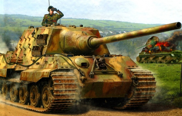 Картинка Рисунок, Jagdpanzer VI, Тяжёлый, Jagdtiger, ПТ САУ, Ausf. B, 12.8cm PaK44, Истребителей танков, Sd.Kfz.186, auf …