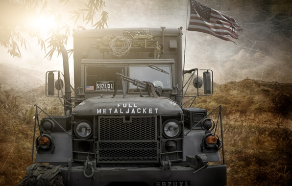 Картинка photoshop, composite, US army truck, full metal jacket