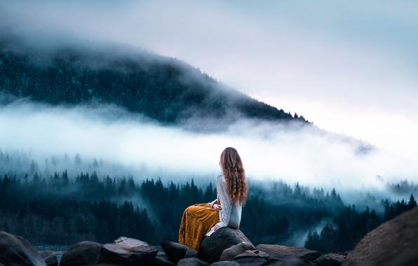 Картинка девушка, пейзаж, камни, вид, Lizzy Gadd, Morning Meditation