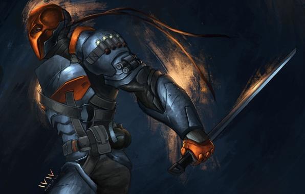 Картинка меч, маска, арт, броня, Batman: Arkham Origins, Deathstroke