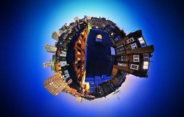 Картинка небо, синий, город, Англия, искажение, панорама