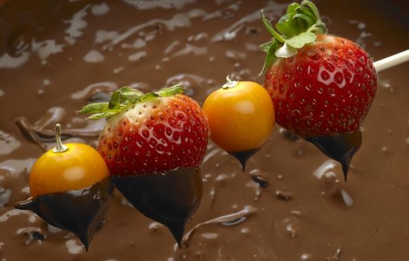 Картинка ягоды, шоколад, клубника