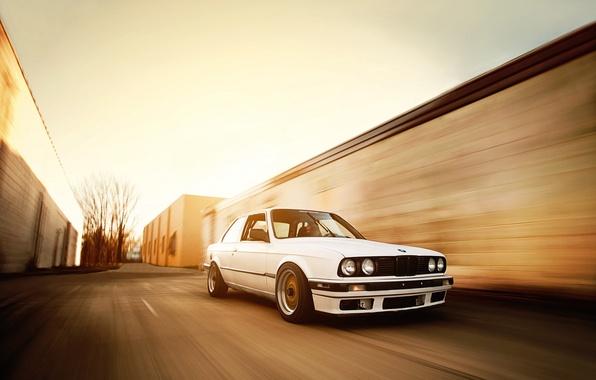 Картинка бмв, скорость, BMW, белая, tuning, bbs, E30