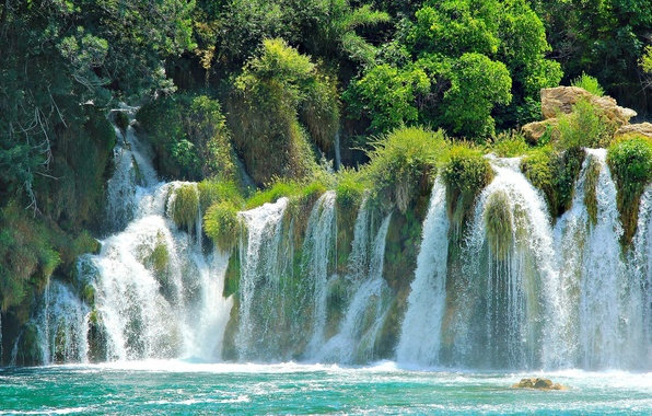 Картинка водопады, Хорватия, национальный парк, Плитвицкие озёра, Croatia Plitvice Lakes National Park waterfalls