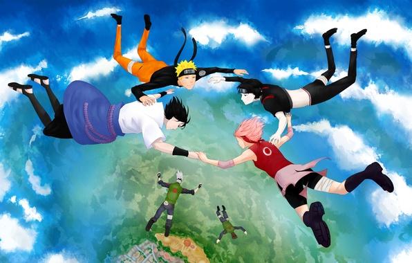 Картинка небо, облака, полет, аниме, арт, наруто, naruto, Uchiha Sasuke, Hatake Kakashi, Haruno Sakura, Uzumaki Naruto, …