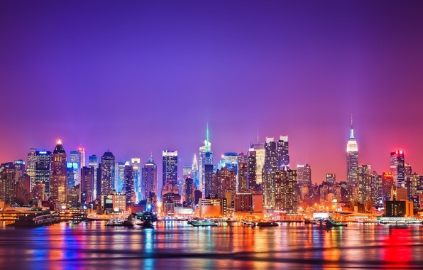 Картинка город, Нью-Йорк, вечер, skyline, night, usa, new-york