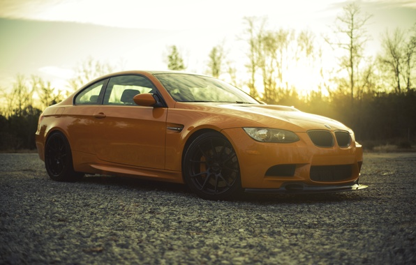 Картинка закат, оранжевый, BMW, БМВ, вид сбоку, orange, e92