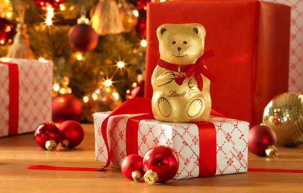 Картинка украшения, праздник, сердце, шоколад, Новый Год, Рождество, подарки, Happy New Year, balls, bear, heart, коробки, …