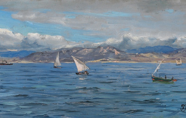 Картинка море, небо, облака, пейзаж, горы, лодка, картина, парус, Peder Monsted