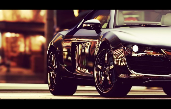 Картинка дорога, машина, авто, city, город, lights, Audi, ауди, улица, фары, колеса, черная, wheels, Audi R8, ...