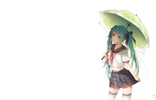 Картинка девушка, зонт, арт, форма, школьница, vocaloid, hatsune miku, бант, вокалоид, tidsean