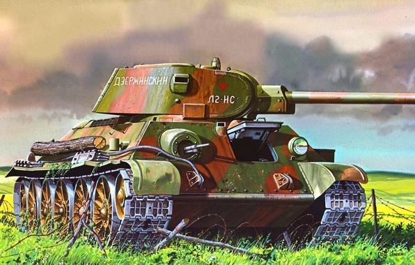 Картинка рисунок, средний танк, Don Greer, ркка, т-34/76