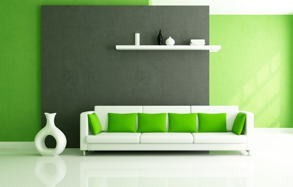 Картинка белый, дизайн, зеленый, стиль, диван, интерьер, подушки, полка