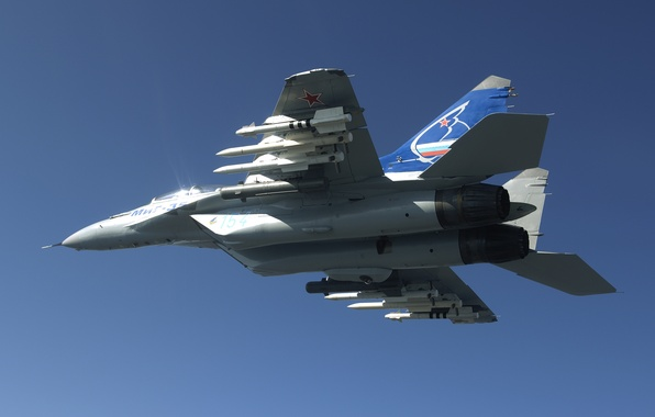 Картинка небо, высота, Истребитель, ракеты, полёт, Россия, самолёт, боеприпасы, sky, aircraft, ВВС, flight, вооружение, Военный, 4++, …
