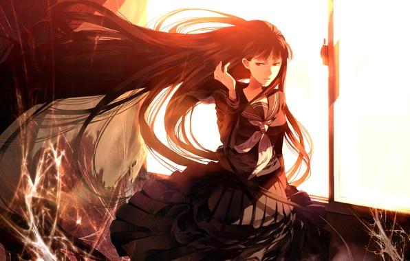 Картинка свет, закат, ветер, паутина, окно, школьница, красные глаза, Atlach-Nacha, Hirasaka Hatsune