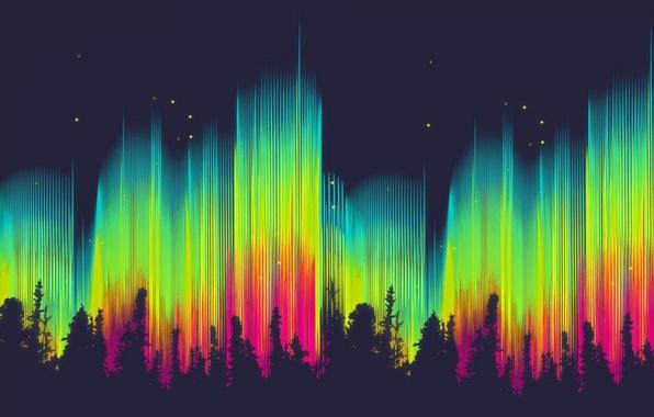 Картинка лес, цвета, звезды, абстракция, фон, обои, яркие, графика, северное сияние