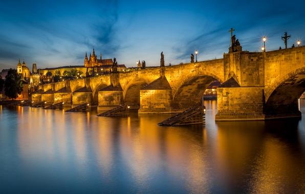 Картинка Prague, Czech Republic, Charles Bridge, Vltava