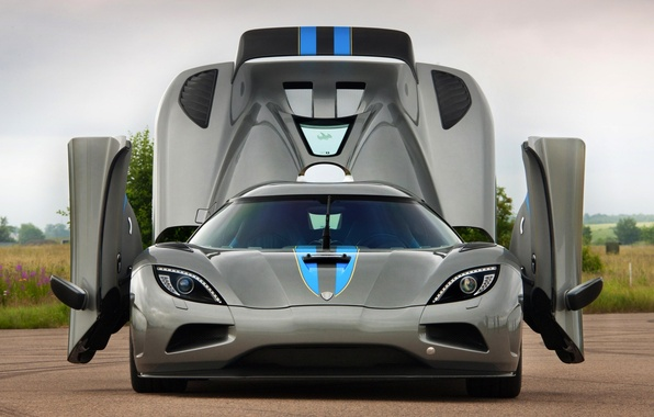 Картинка небо, серый, двери, Koenigsegg, суперкар, передок, Agera, гиперкар, кёнигсегг, .капот, агера