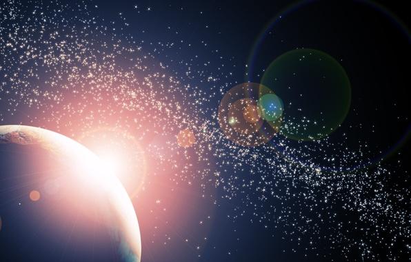 Картинка космос, звезды, свет, планета, space, light, stars