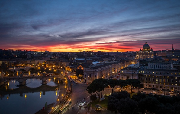 Картинка закат, город, река, здания, дома, вечер, Рим, панорама, архитектура, мосты, Italy, Rome, Ватикан, Vatican, Stato …