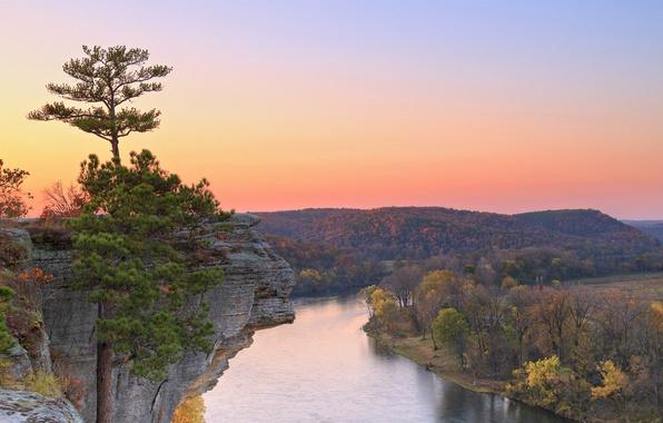 Картинка осень, лес, небо, деревья, закат, горы, скала, река