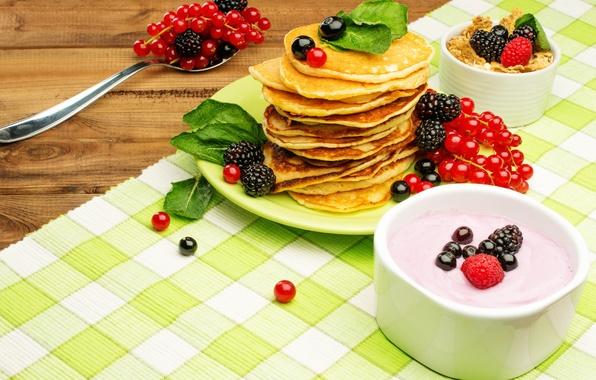 Картинка ягоды, завтрак, мёд, блины, fresh, смородина, ежевика, berries, breakfast, мюсли, йогурт, pancake
