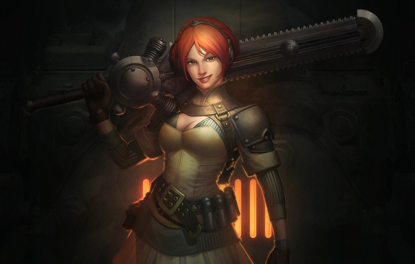 Картинка девушка, улыбка, огонь, меч, решетка, арт, рыжая