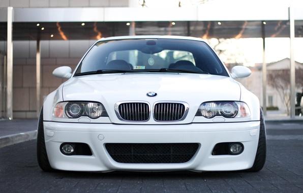 Картинка тюнинг, BMW, Белая, White, E46, stance