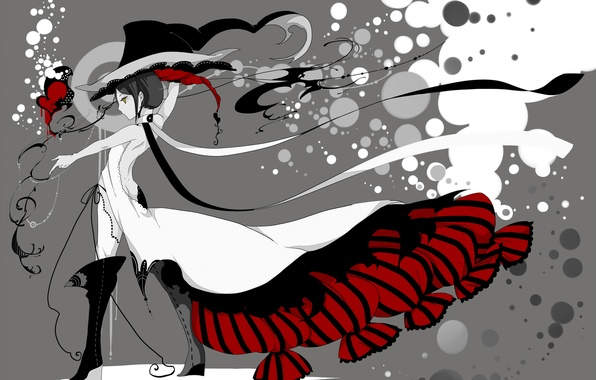 Картинка девушка, стиль, шляпа, аниме, платье, чернила, art, Bati15