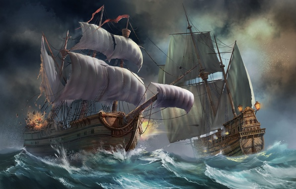 Картинка море, волны, шторм, парусник, корабли, бой, арт, битва