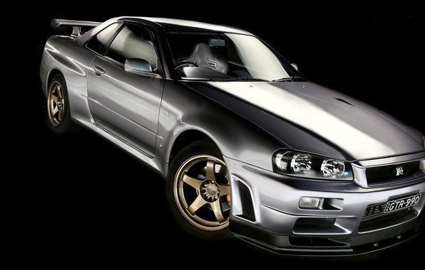 Картинка серебристый, Nissan, GT-R, чёрный фон, ниссан, Skyline, R34, скайлайн, silvery