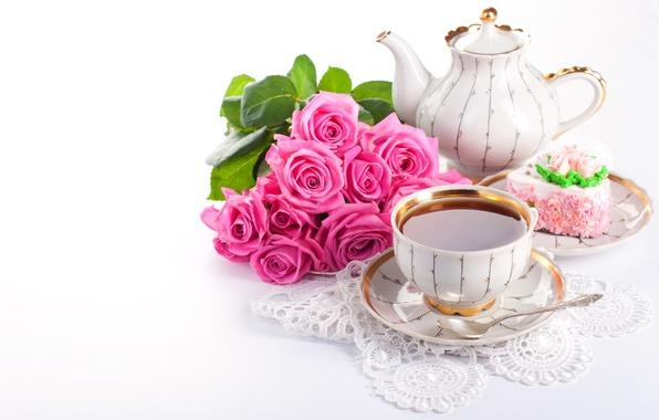 Картинка цветы, чай, сладость, розы, букет, чайник, чашка, напиток, пирожное, кружево, десерт, салфетка