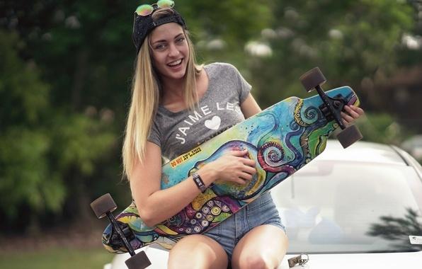 Картинка девушка, улыбка, спорт, скейт