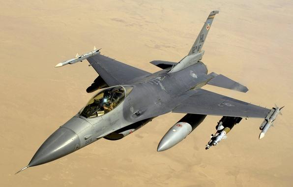 Картинка небо, пустыня, Fighting, F-16, Falcon