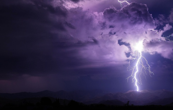 Картинка гроза, небо, облака, горы, ночь, тучи, молния