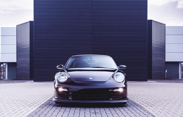Картинка Авто, Черный, 911, Porsche, Машина, Капот, Здание, Фары, Порше, GT2, Передок, Спорткар, OK-Chiptuning