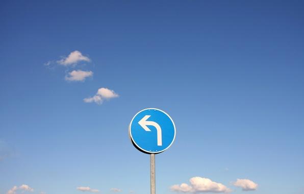 Фото обои знак, небо, поворот