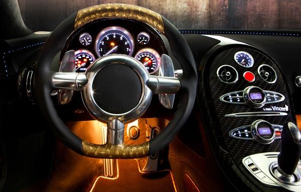 Картинка авто, дизайн, панель, приборы, руль, спорткар, салон, Mansory, Bugatti Veyron 16.4 LINEA Vincero d'Oro, Бугатти …