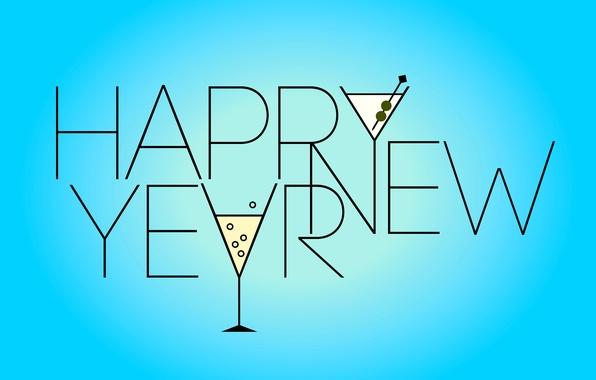 Картинка праздник, новый год, бокалы, слова, голубой фон, happy new year, поздравление, holiday