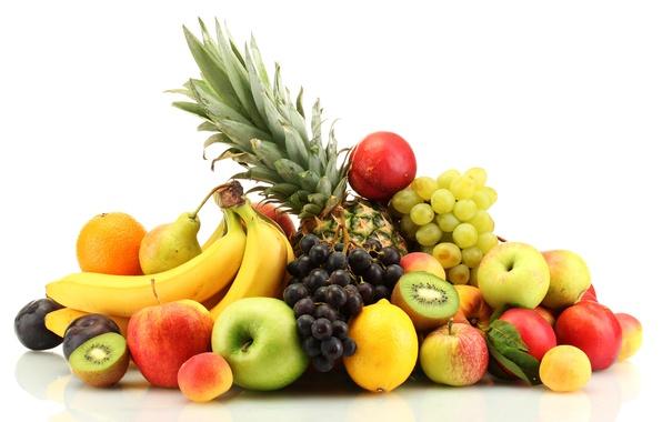 Картинка ягоды, яблоки, апельсины, виноград, бананы, фрукты, ананас, персики, сливы, цитрусы, груши, лимоны, абрикосы, нектарин