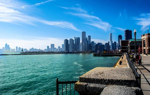 Картинка лето, небо, город, река, люди, небоскребы, Чикаго, Мичиган, набережная, Иллиноис
